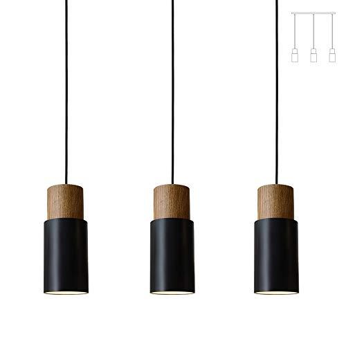 Matiere 3 flammige Pendelleuchte Vintage Hängelampe Holz Hängeleuchte Retro Lampenschirm Industrial für E27 Leuchtmittel, für Esszimmer Flur Restaurant Keller Untergeschoss usw. schwarz 1 Pack