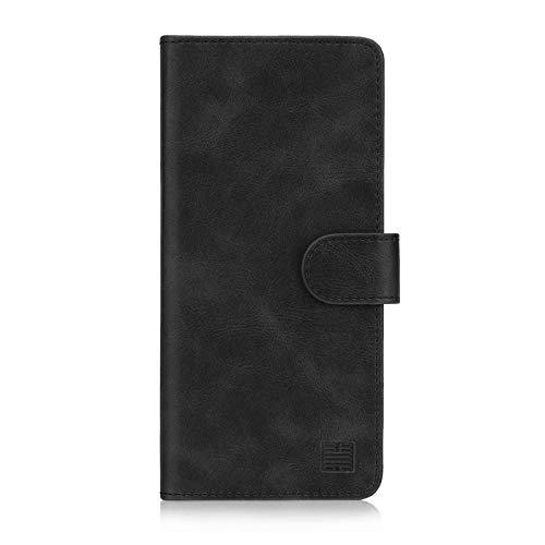 32nd Essential Series - PU Leder Mappen Hülle Flip Hülle Cover für Huawei Y6 (2019) und Huawei Honor 8A, Ledertasche hüllen mit Magnetverschluss & Kartensteckplatz - Schwarz
