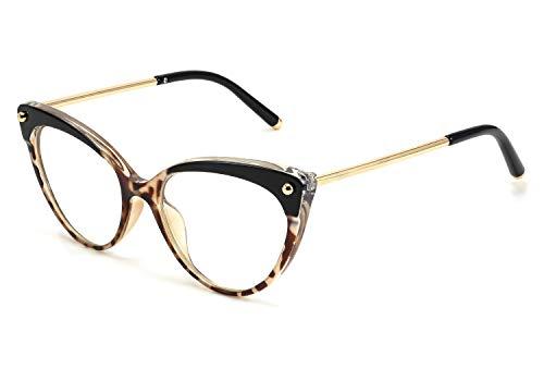 FEISEDY Klassische Blaulichtfilter Brille Ohne Stärke Entspiegelt Katzenauge Metallgestell Brille PC Gaming Bluelight Filter Uv Anti Blaulicht Brille für Damen B2618