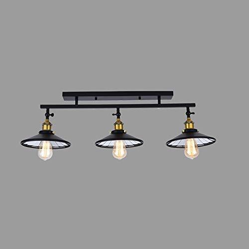 QTWW Candelabro 3 Luces Fashion Vine Loft DIY Hierro Negro Luz de Techo Home Deco Espejo Pantalla de Cristal Lámpara de Techo de Montaje Semi Empotrado de Metal 3 * E27 Bombilla Edison Lámpara de