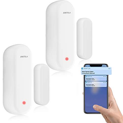 Allarme porte e Finestre ANTELA,Sensore wifi Compatibile con Alexa Google Home,Nessun Hub Richiesto Monitoraggio Intelligente Dello Stato di porte e Finestre Invio di Allarmi a Telefoni Cellulari,2pcs