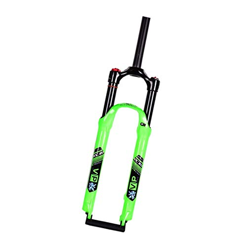 CAISYE Bicycle Forks 26/27.5/29 Inch Bike Forks, Rebound Adjust Straight Tube 28.6Mm QR 9Mm Travel 120Mm Manual/Crown Lockout Mountain Ultralight Gas Shock XC,Green,26