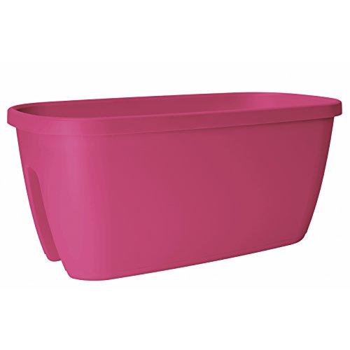 Emsa Geländertopf für Balkon, 21 Liter, Selbstbewässerungssystem, Pink Hell, City, 517660