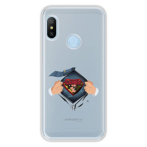 Hapdey Funda rígida para [ Xiaomi Mi A2 Lite - Redmi 6 Pro ] diseño [ Jugador Disfrazado ] Carcasa TPU, Transparente