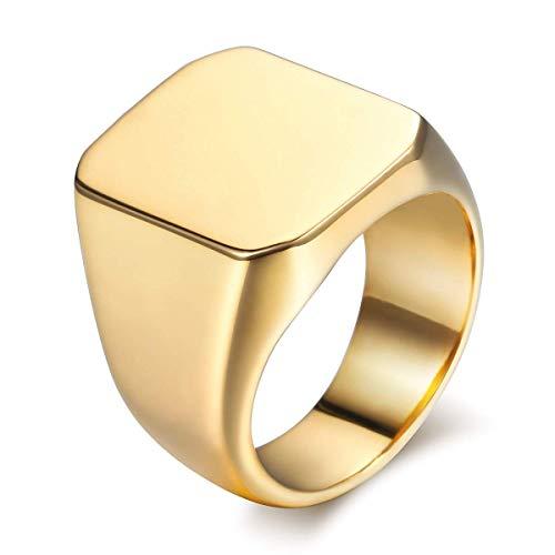 Rockyu ジュエリー 人気 アクセサリー ゴールド 指輪 リング メンズ ステンレス ミリタリー 指輪 22号