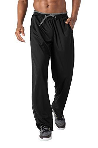 BIYLACLESEN Mens Jersey Pants Open Bottom Jogger Pants Jogging Pants Men Big and Tall Running Pants Men with Zipper Pockets Loose Fit Black