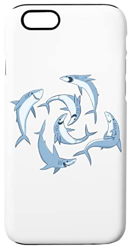 Colegio De Feliz Tiburones Caja del Teléfono para iPhone 6, iPhone 6s Concha Dura con Capa De Silicona en el Interior Phone Case