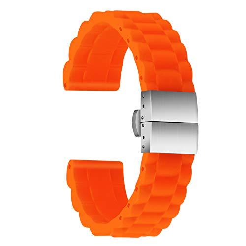 Ullchro Correa Reloj Calidad Alta Recambios Correa Relojes Caucho Link Pattern - 16mm, 18mm, 20mm, 22mm, 24mm Silicona Correa Reloj con Acero Inoxidable Hebilla desplegable (22mm, Naranja)