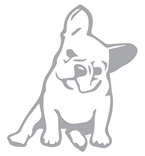 French Bulldog Lover Vinyl Sticker Decals for Car Window Laptop Phone (4' x 3.5', Silver)