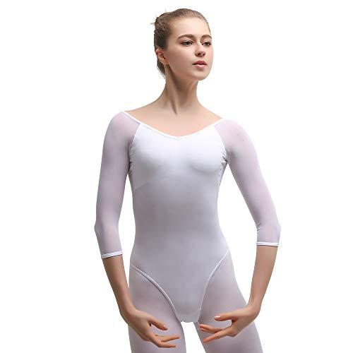 Maillot de Danza Gimnasia Leotardo Clásico Ballet Vestido para Niñas Mujer Blanco,M=150-155 cm