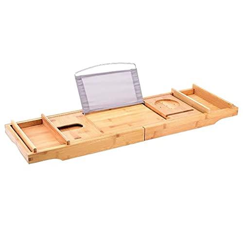 bandejas bañera Puente de la bañera de extensión, Bandeja de bañera de bambú de Primera Calidad con Tableta y folletos de Vidrio, Organizador de bandejas de bañera Extensible