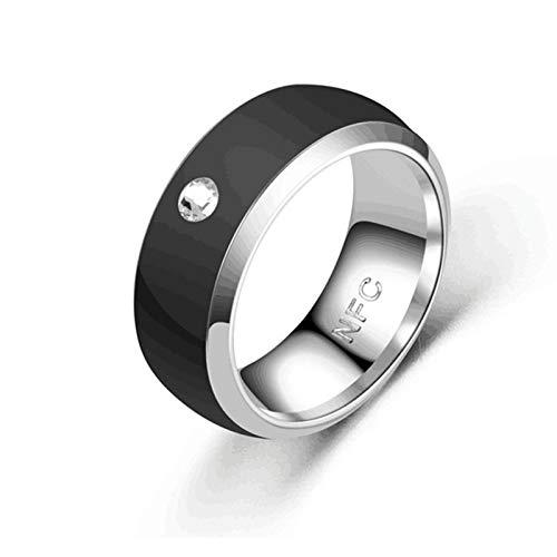 HMY Art Und Weise Neueste NFC Smart-Ring-Finger-Blau Wearable-Edelstahl-Ring Für Männer Wasserdichten Handy-NFC-Ring,Schwarz,No.8