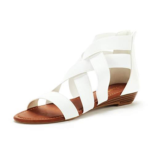 DREAM PAIRS Women's Elastica8 White Elastic Ankle Strap Low Wedges Sandals Size 8 M US
