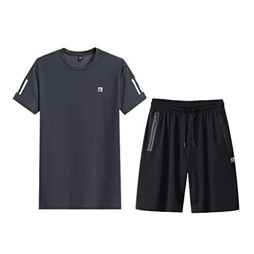 LIXIAOLAN Camiseta Sports Traje Hombre Secado Rápido Casual Correr Wear Summer Shorts De Manga Corta De Verano Juego De 2 Piezas,Gris,L
