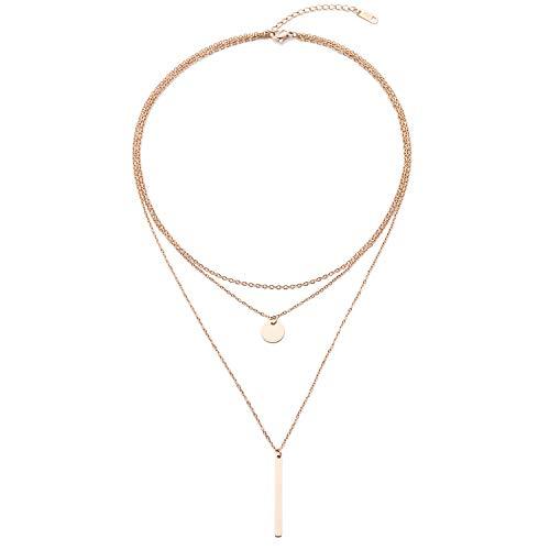 LEGITTA Damen Layered Kette mit Runder Plättchen Anhänger in Rosegold Zarte Kreis Mehrreihige Edelstahl Halskette aus Titan Nickelfrei