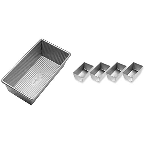 USA Pan Bakeware Aluminized Steel Loaf Pan, 1 Pound, Silver & Pan Bakeware Mini Loaf Pan, Set of 4, Nonstick & Quick Release Coating, Made in the USA from Aluminized Steel