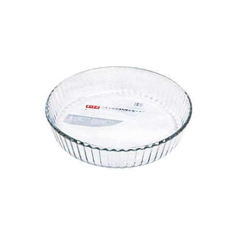 JSBHS Tempered Glass Plate, Round Baking Tray, Transparent Creative Baking Tray (Color : Clear)