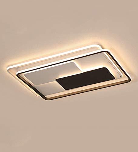 Moderna lámpara de techo LED regulable con mando a distancia, rectangular, de diseño sencillo, para salón, dormitorio, iluminación de techo, pantalla acrílica, 78 W, color blanco y negro