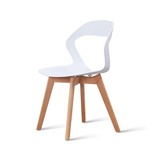 JJZXD Intérieur Armless Loisirs Chaises avec Pieds en Bois Robuste hêtre Massif for Cuisine Salle à Manger Chambre Salon (Color : White)