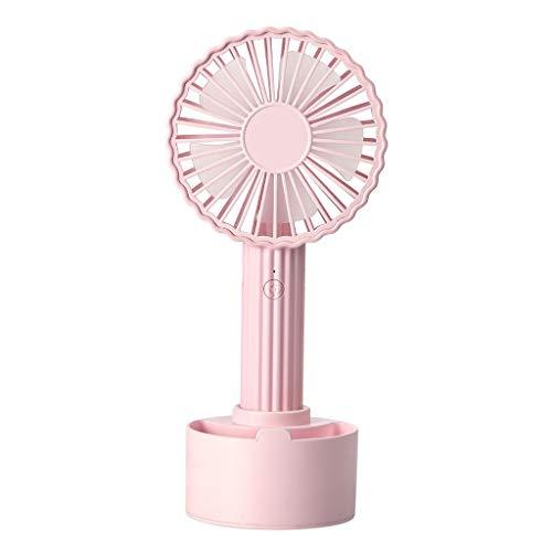 BYTGK Rustige draagbare handzame persoonlijke mini-tafelventilator met oplaadbare accu, tafelventilatoren met 3 snelheidskoeling, perfect voor kinderwagen, op reis roze