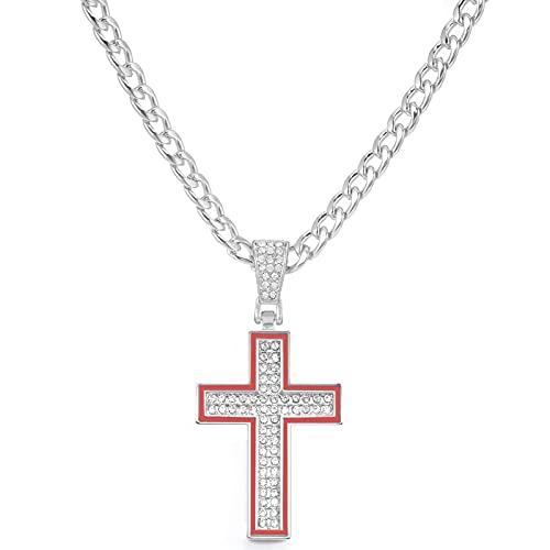 Cruz Colgantes Collar Cristal Ankh Collares pendientes Gargantilla de metal Cadenas de eslabones cubanos Cadena larga de tenis / cuerda Joyas Hombres / Mujeres Longitud 16 pulgadas (40Cm)