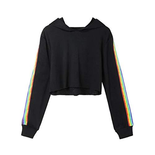 iYmitz DamenLange ÄrmelGestreifte Crop Hoodie Sweatshirt Pullover mit Kapuze Pullover Top(A-schwarz,M)
