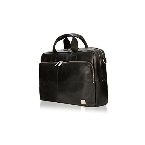 Knomo Men's Brompton Classic Amesbury Full Leather Double Zip Brief 15'-Black Briefcase, 42 cm
