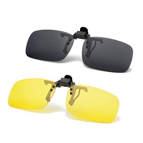 JEEDA Unisex-Sonnenbrille Rahmenlose Rechteckige Sonnenbrille Brillenfilter Starkes Licht für Myopie, Randlose Anti-Glare-Nachtsichtlinse zum Hochklappen, 100{87c1ef52b48565b05fbc96b8310e50f30b7cb3c5ba46c735c0b8568442d95e39} UVA/UVB-Schutz, 2er-Pack