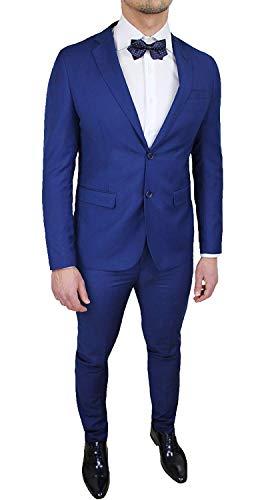 Abito Uomo Sartoriale Giacca con Pantaloni Blu Acceso Completo Vestito Slim Fit Elegante (48)