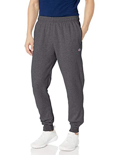 Champion Men's Powerblend Retro Fleece Jogger Pant, Granite Heather, Medium