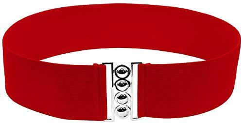 Modeway womens 3'dress belts Wide Elastic Waist Belt, Stretch Band Cinch Belt (M-L,Red)A1-2