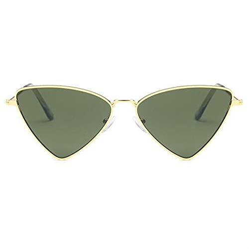 Pequeño triángulo gato ojo gafas de sol mujeres vintage gafas de sol mujeres damas gafas de sol 2021 gafas retro sol para pequeñas caras de protección UV barato ( Lenses Color : Gold dark green )