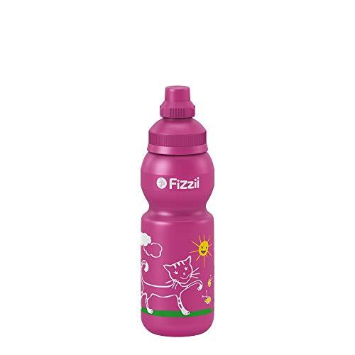 Fizzii Kinder- und Freizeittrinkflasche 330 ml (auslaufsicher bei Kohlensäure, schadstofffrei, spülmaschinenfest, Motiv: Katze)