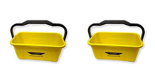 Ettore 3 Gallon Compact Super Bucket with Ergonomic Handle - 2 Pack