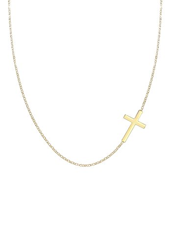 Elli Women's 925 Sterling Silver Gold Plated Cross Pendant Necklace - 45cm length