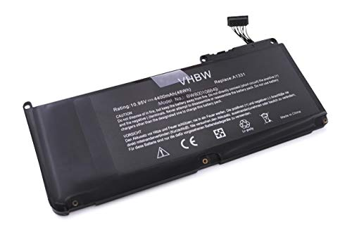 Batterie Li-Polymer vhbw 4400mAh (10.95V) pour Ordinateur Portable, Notebook Apple MacBook Unibody 13\