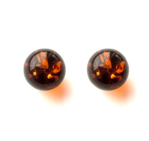 Honey Amber and Sterling Silver Small Stud Ball Earrings, 8mm