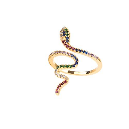 Colours & Beauty - Anillo de serpiente ajustable para mujer, anillo de serpiente de plata y oro Oro - Strass Multicolor