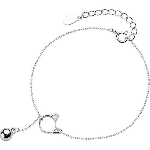 Silber-Armband, minimalistisch, echtes 925er Sterlingsilber, niedliche hohle Katzen-Glöckchen, Charm-Armband, Modeschmuck, für Damen, Party-Zubehör
