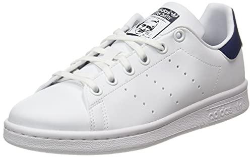 adidas Stan Smith J, Scarpe da Ginnastica, Ftwr White/Ftwr White/Dark Blue, 38 EU