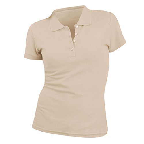 Sols People Damen Polo-Shirt, Kurzarm (Large) (Sand)