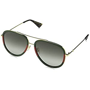 Fashion Shopping Gucci GG0062S 003 Gold/Green GG0062S Pilot Sunglasses Lens Category 3 Size 57
