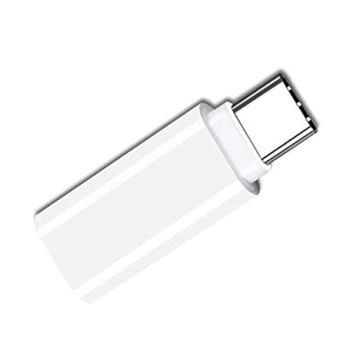 SODIAL Tipo-C a 3.5mm Adaptador de Auricular USB-C 3.1 Macho a AUX Audio Hembra para Xiaomi 6 Mi6 Letv 2 Pro 2 Max2 (Blanco)