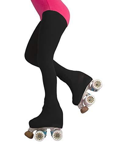 CALZITALY Professionelle Mädchen Rollschuh und Eislauf Strumpfhose mit Fuss | Overboot Strumpfhosen | Beigen Schwarz | 6, 8, 10, 12 Jahre | 70 DEN | Made in Italy (8 Jahre, Schwarz)