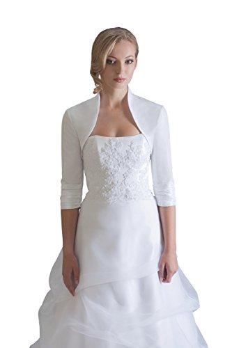 Hochzeits Bolero Brautkleider Jacke Braut aus TAFT - BE208 (S, Ivory/Champagner)