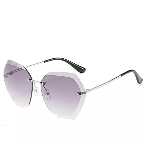 HGFJG Gafas De Sol De Moda MujerLente Sin Montura Gradiente Retro Aleación Marcos Gafas