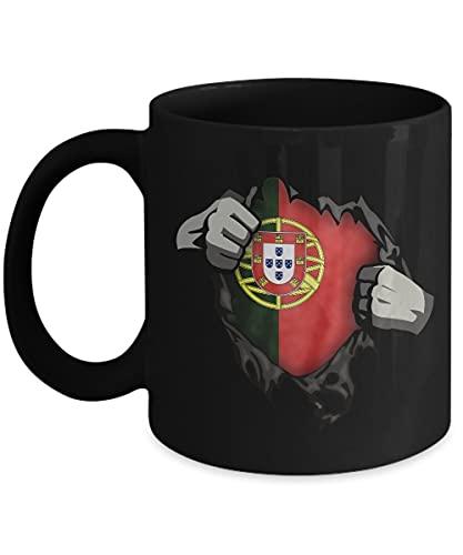 N\A Taza de café de I Love Portugal - Taza de té de cerámica Negra de 11 oz. Bandera Portuguesa Orgullo Novedad Lisboa.