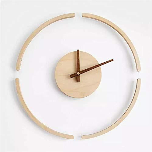 hufeng Reloj de pared de cristal transparente colgante simple de madera reloj creativo silencioso reloj decorativo pared decoración hogar decoración