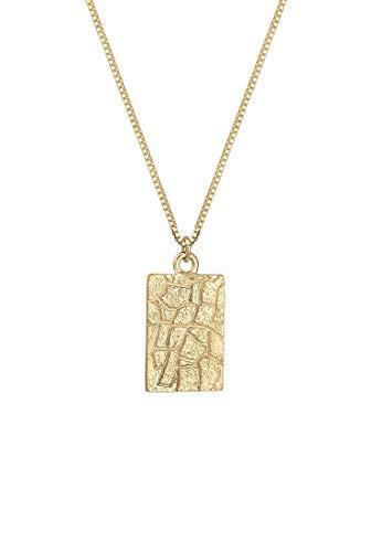 Elli Halskette Box Chain Vintage Look mit Geo Anhänger aus 925 Sterling Silber