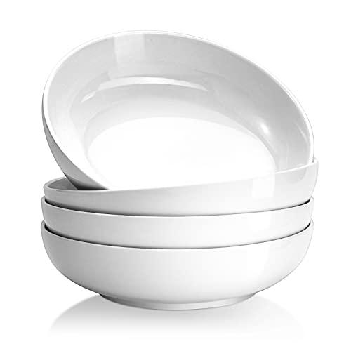 Yedio Pasta Bowls, 38 Ounces Porcelain Salad Bowls for Kitchen, Shallow Pasta Bowls Set, White Soup Bowls, Oven Dishwasher Safe, Set of 4